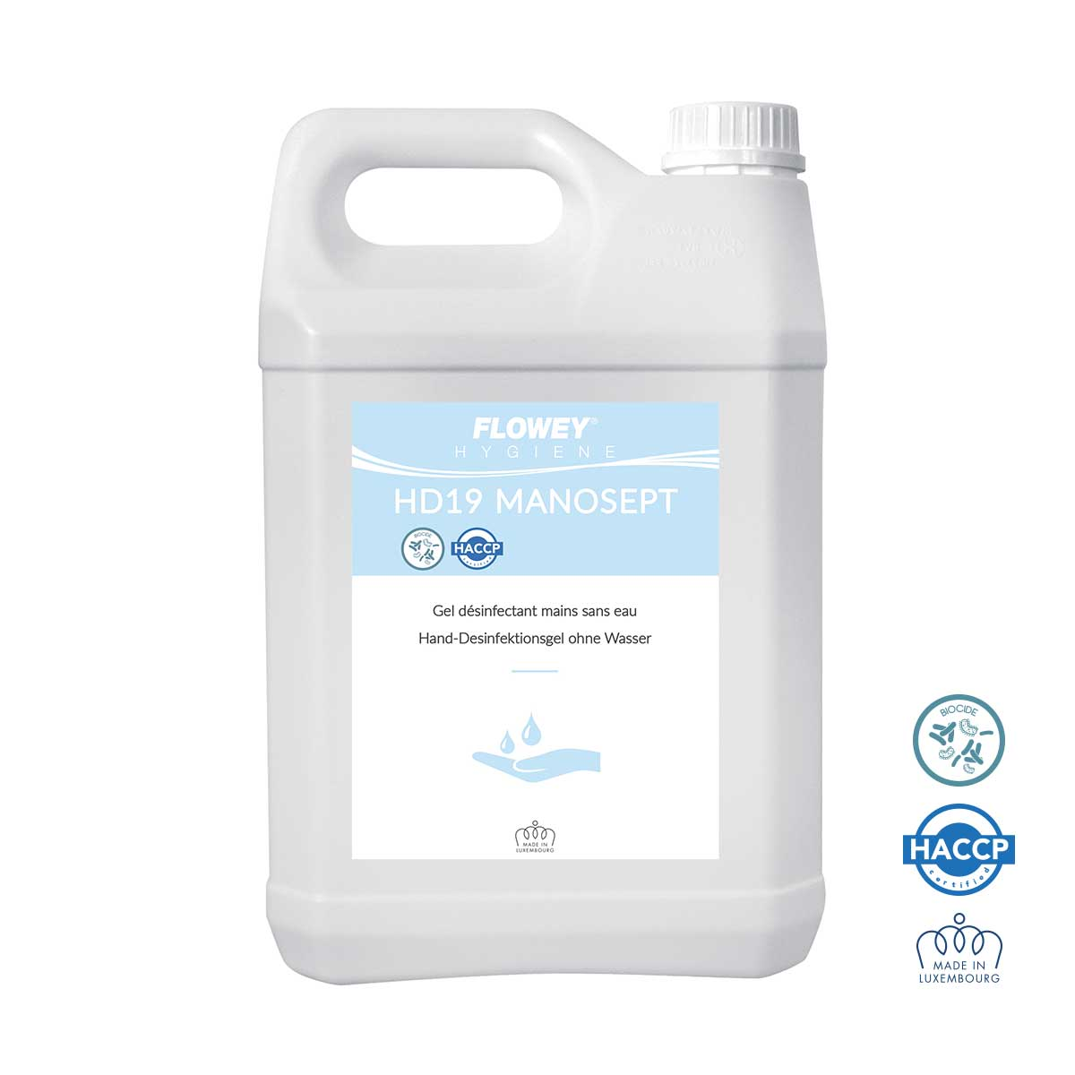 Gel hydroalcoolique désinfectant mains sans eau - Bidon 5 l
