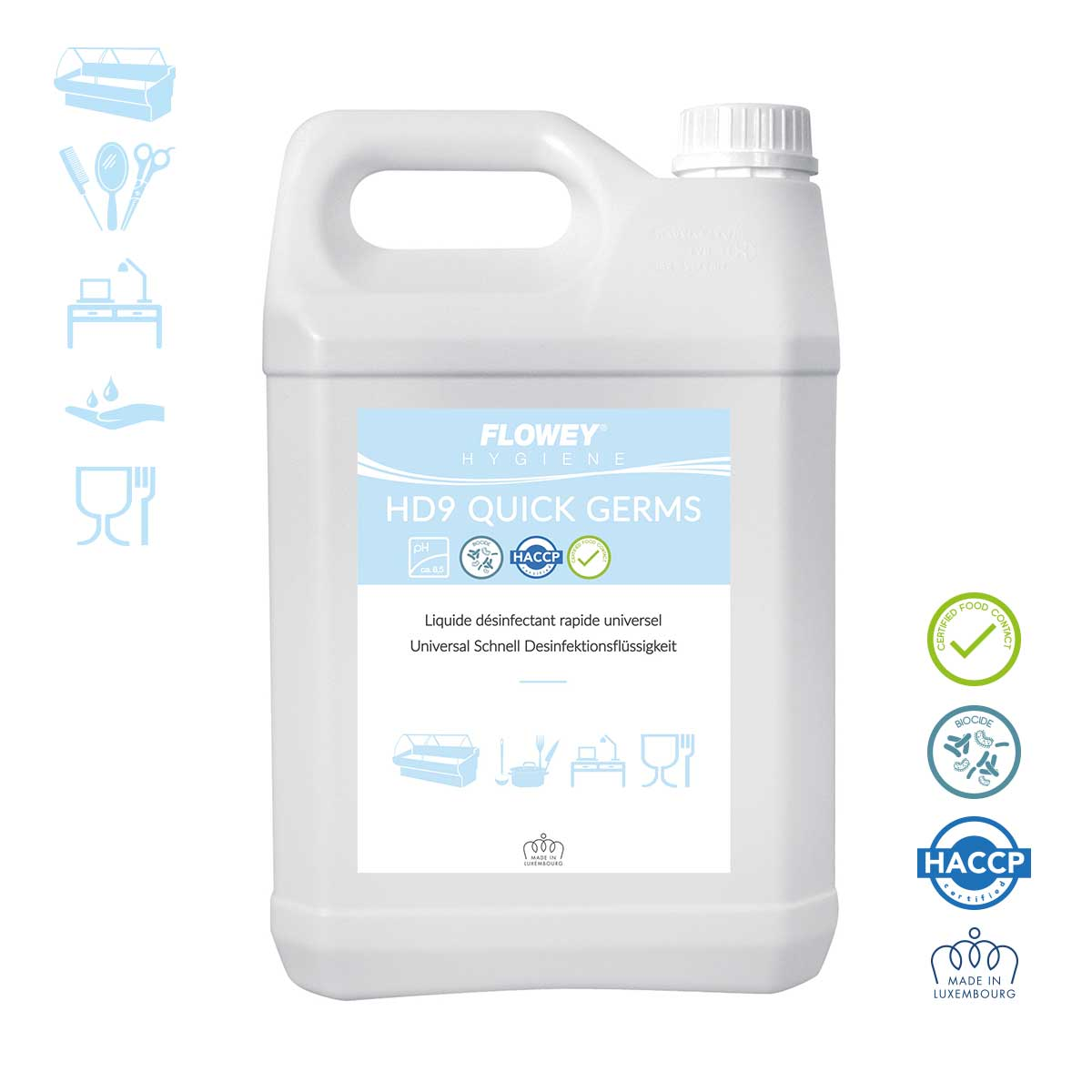 Liquide désinfectant rapide universel - Food Contact - Bidon 5 l